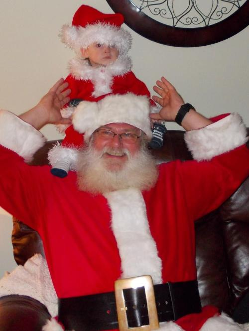 WHOA!!!! Santa is that really you? oh wait, it's Uncle Jim. and my sweet nephew Chase, who pretty much goes along with anything that he is subjected to. such a good sport!